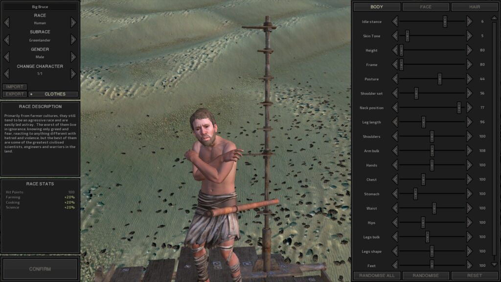 An image showing a deformed man in a video game customization menu