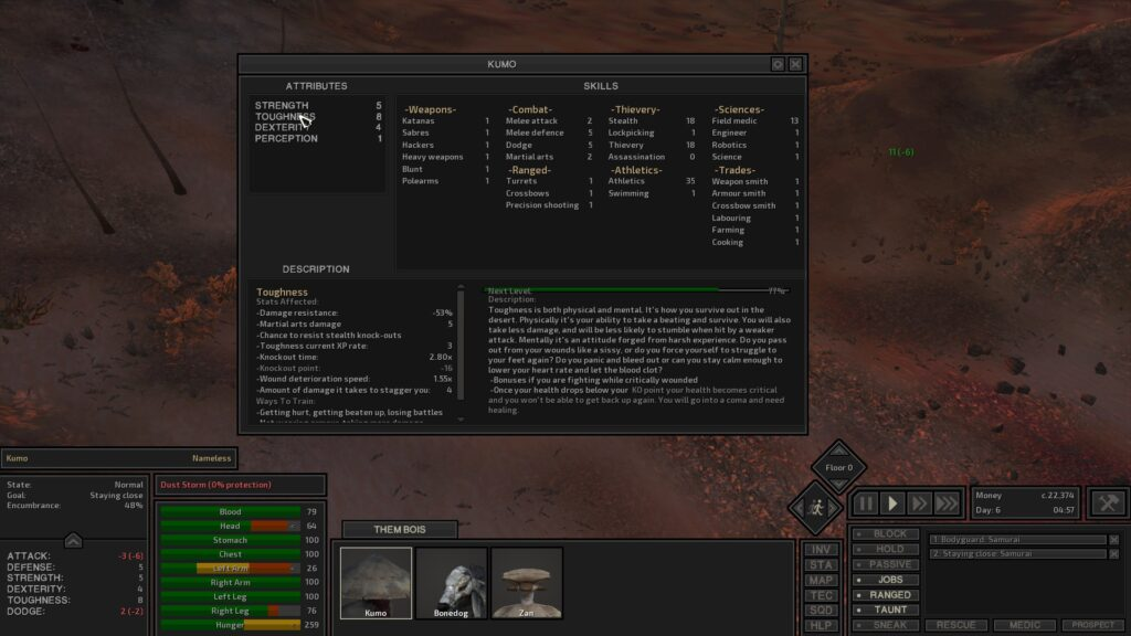 An image showing the various skills and attributes in Kenshi
