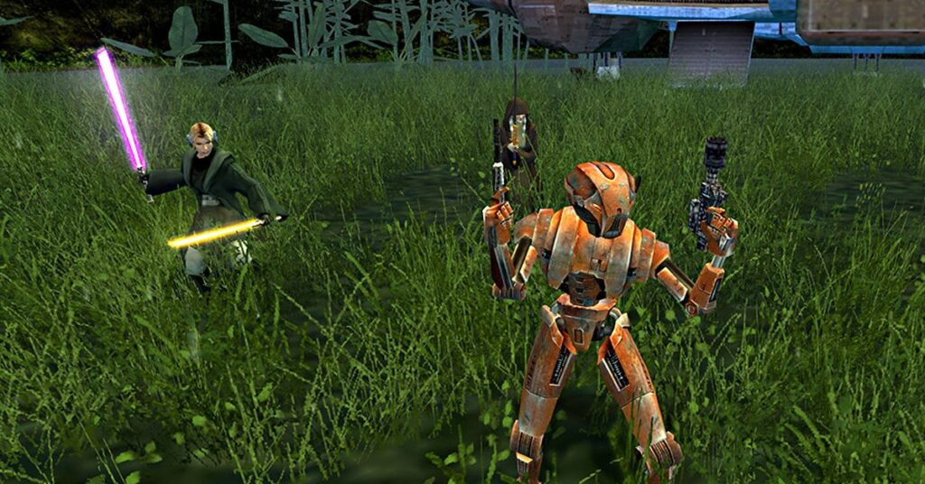 A robot named HK47 holding 2 pistols next to a jedi with 2 lightsabers