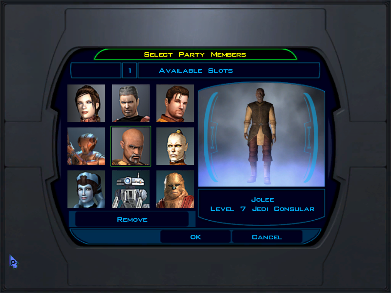 Party Selection screen for knights of the old republic