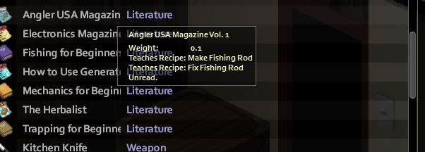 the Angler USA magazine in Project Zomboid for the fishing rod crafting recipe