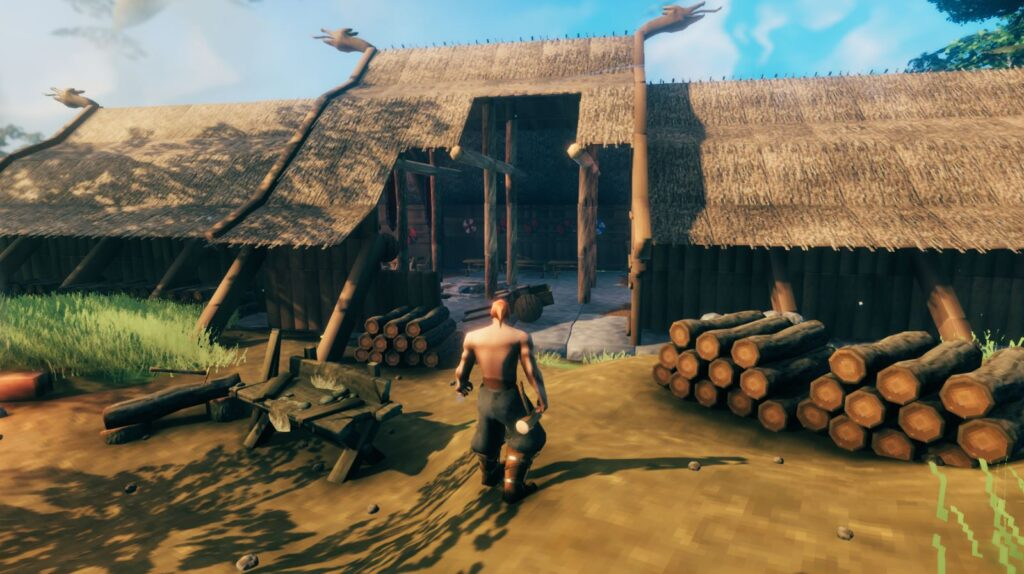 Some type of building being constructed in Valheim Possibly a mead hall