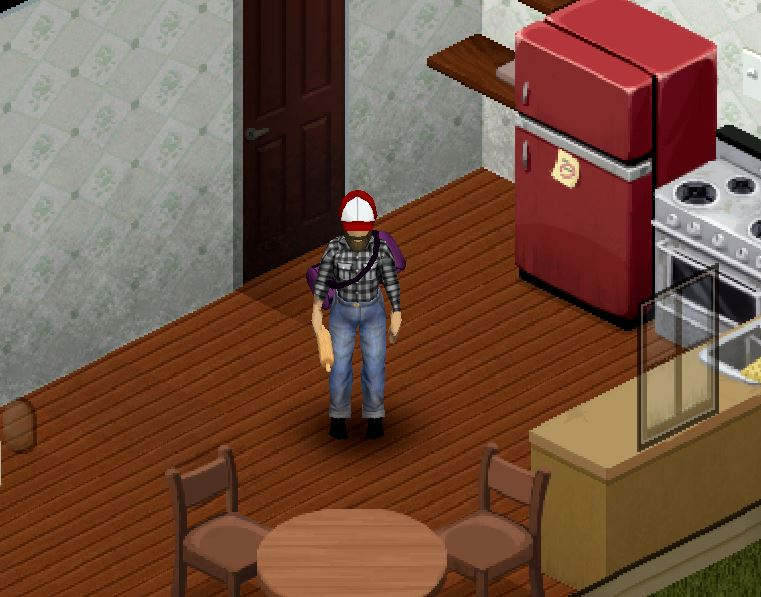 Project Zomboid character after successfully washing clothing