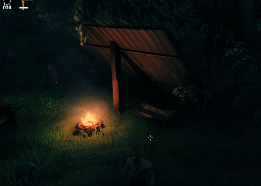 A cozy little shelter made in Valheim at night