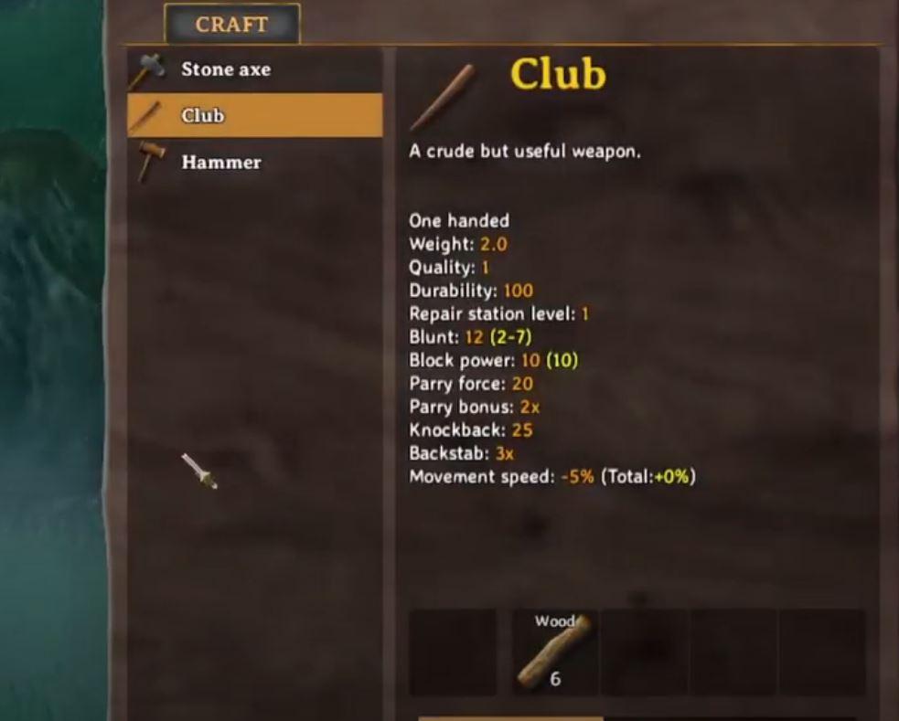 Crafting a Wood club in Valheim on Steam