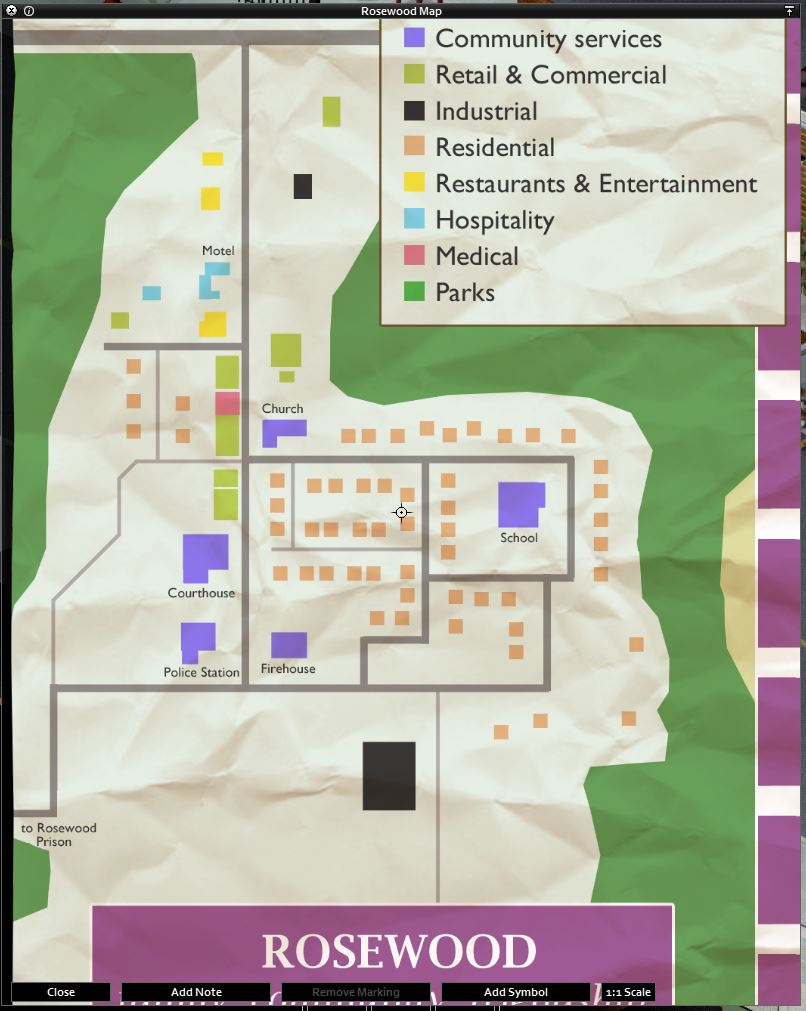 Full map of Rosewood - Project Zomboid Build 41