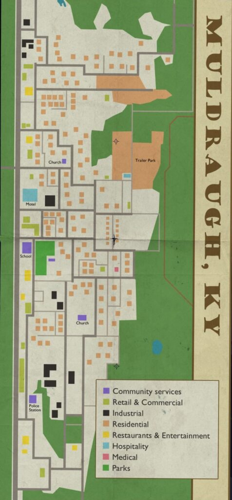 The full in-game map of Muldraugh in Project Zomboid Build 41