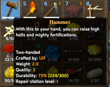 TheThe in-game information UI for the Hammer item in Valheim