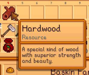 Información del artículo de madera dura en stardew valley