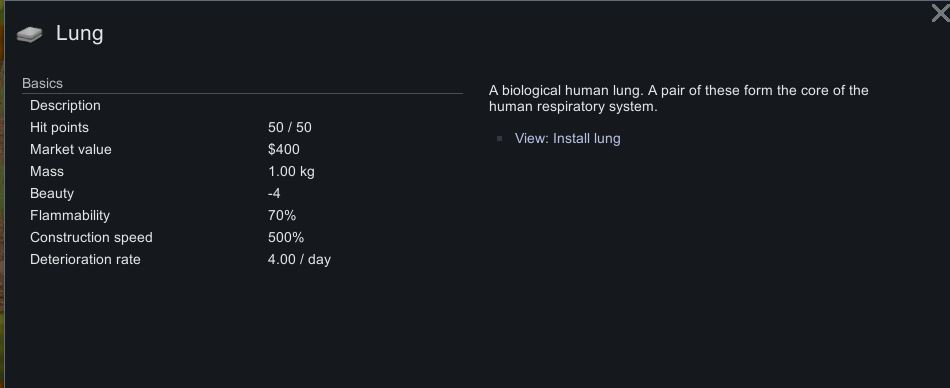 Ficha de información pulmonar en Rimworld