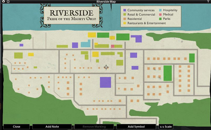Project Zomboid in-game Riverside map