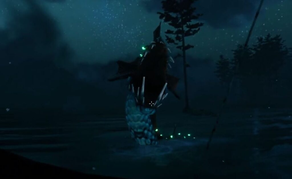 The Sea serpent in Valheim enraged at the player