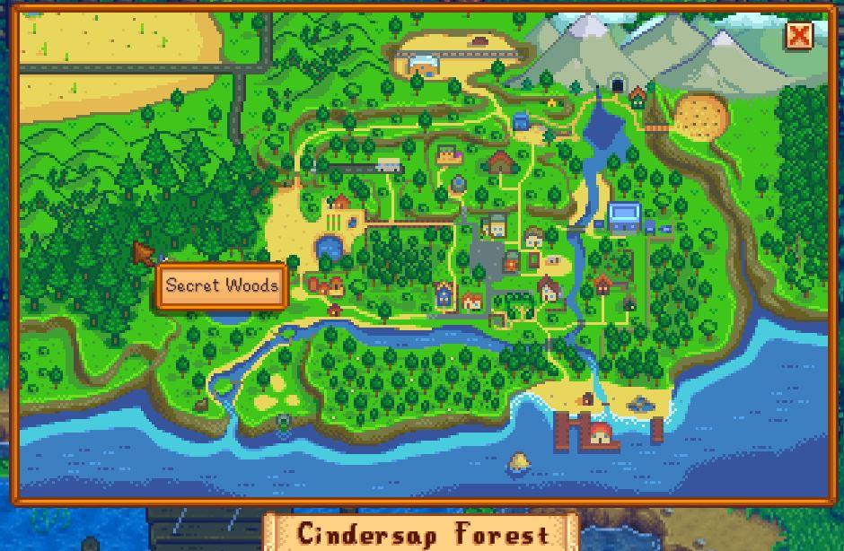 El bosque secreto en stardew valley, un gran lugar para encontrar madera dura