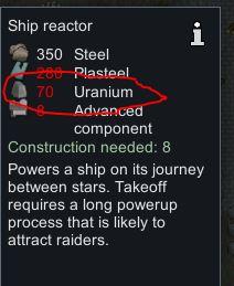 70 Se necesita uranio para construir el reactor de la nave en Rimworld