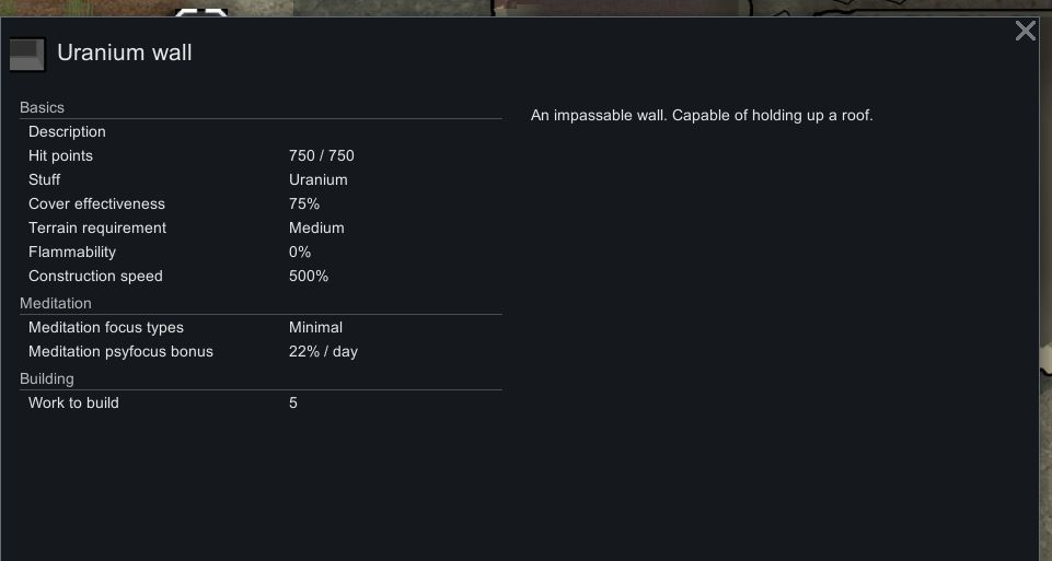 La información del juego para una pared de uranio en rimworld