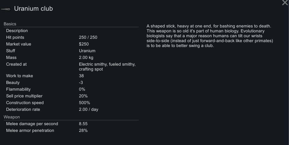 Estadísticas del Uranium Club en Rimworld