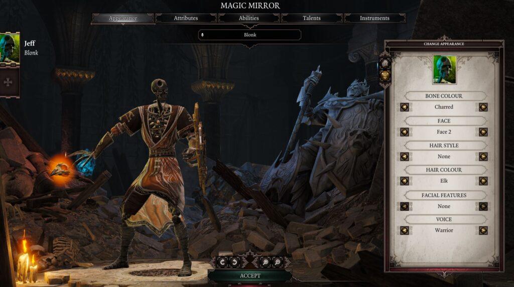 respec your character menu