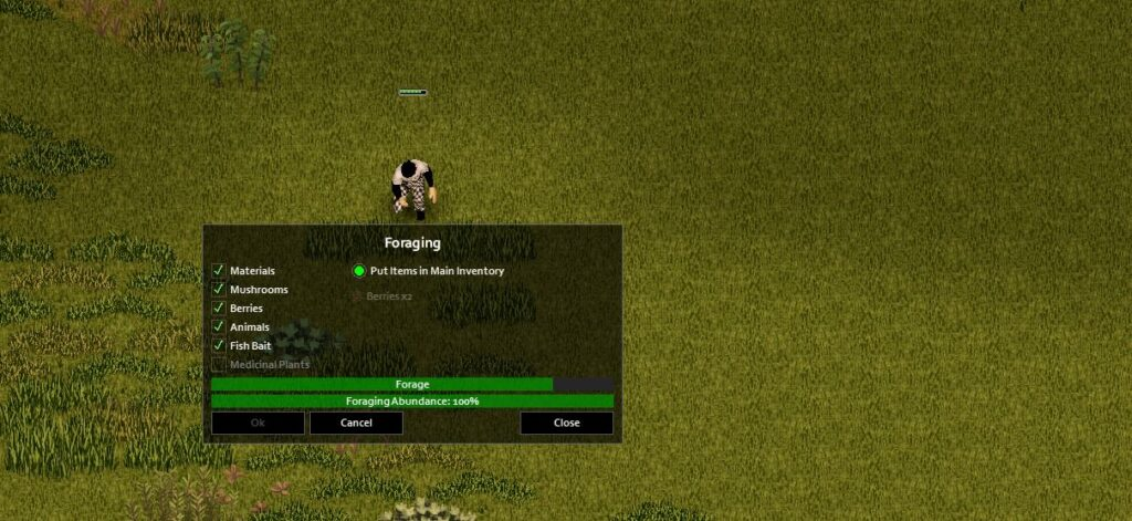 A Project Zomboid Character Foraging in Build 41