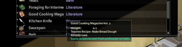 Find new recipes in Project Zomboid Cooking magazine