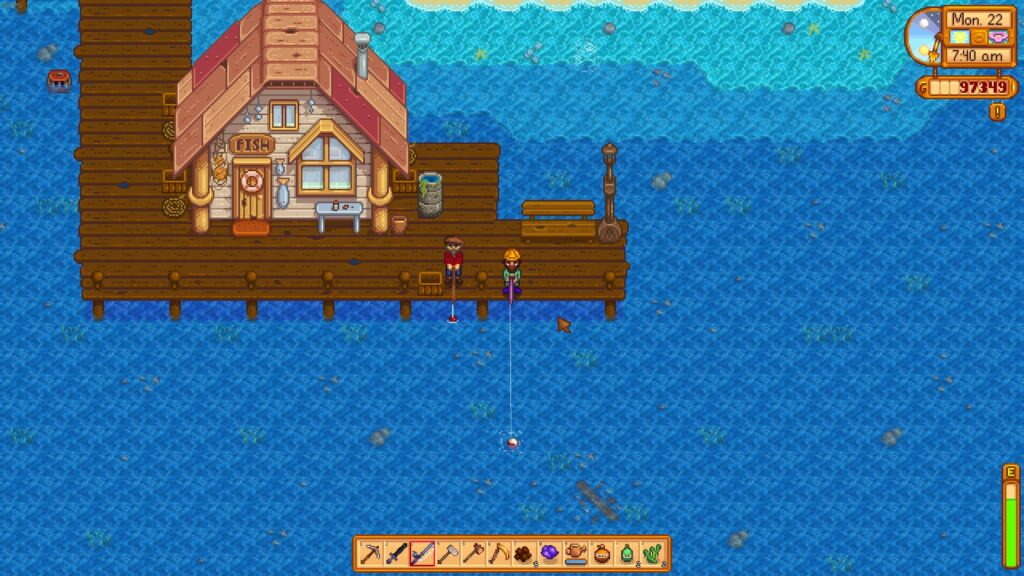 How to attach bait in Stardew valley Fishing with willy