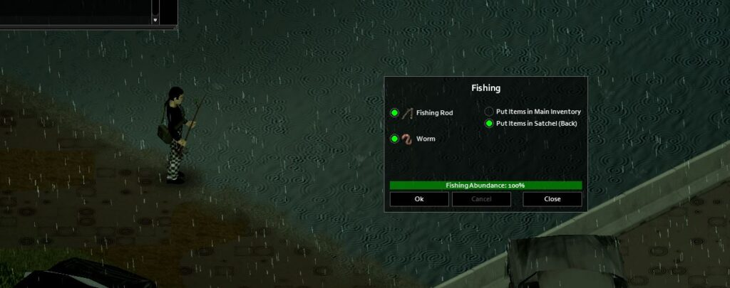 The fishing menu in Project Zomboid build 41
