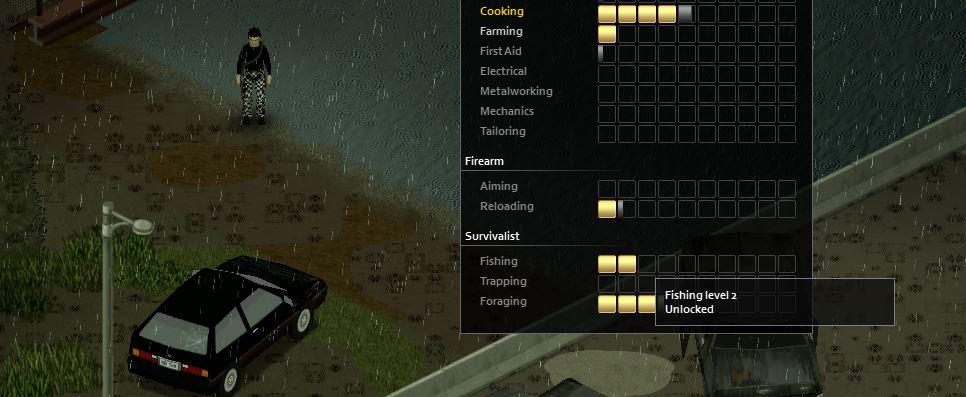 The fushing skill menu in Project Zomboid build 41
