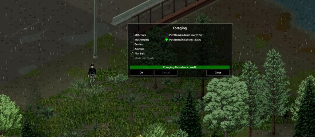 Foraging for worms in project zomboid