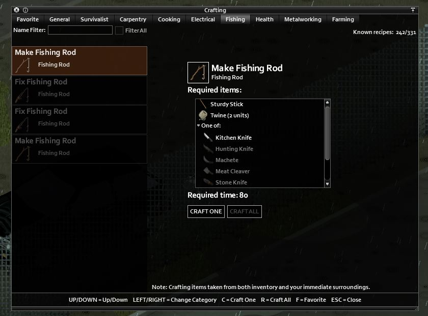 how to craft a fishing rod in project zomboid build 41 muldraugh map
