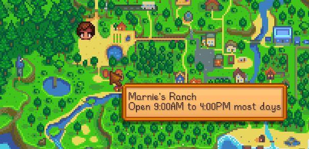 Rancho de marnies en stardew valley en el mapa