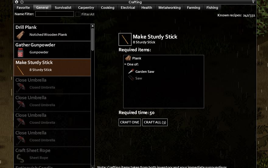 How to craft a sturdy stick in Project Zomboid