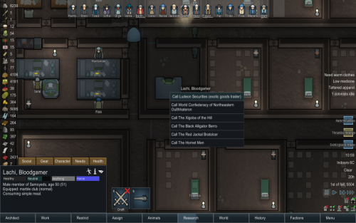 Trading plasteel with a comms console in rimworld