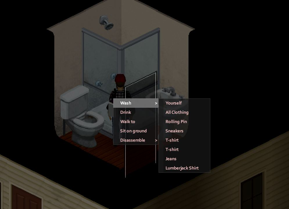 Washing clothes in Project Zomboid from the right click menu
