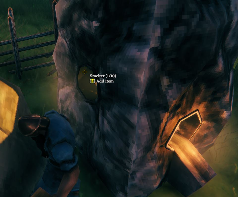 adding coal to the smelter in Valheim