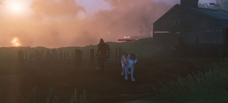 Taming wolves in valheim sunset screenshot
