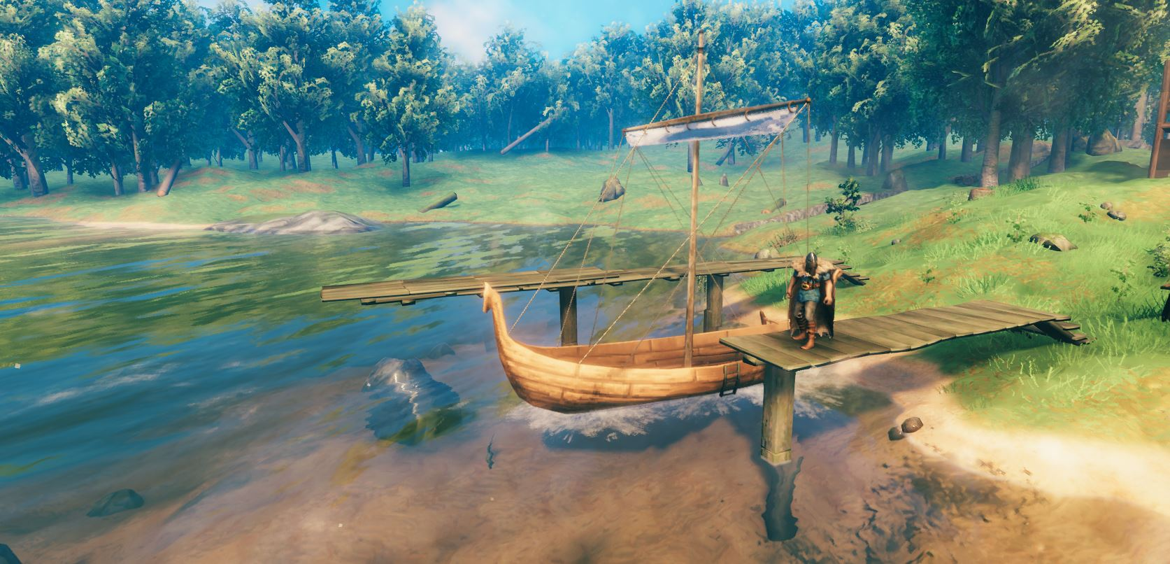 Banner Image. A player in Valheim with their dock and boat