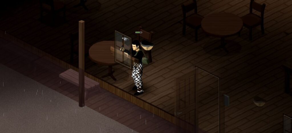Barricading a window in project Zomboid with wooden planks