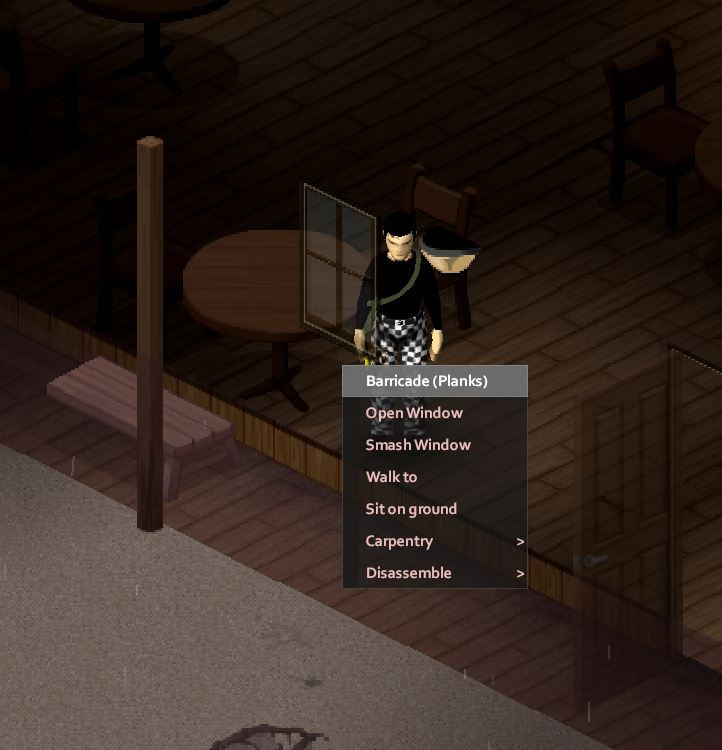 Barricade a window in Project Zomboid using the interaction menu with the Right-click button