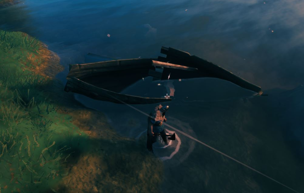 Breaking down a ship in Valheim to get materials back