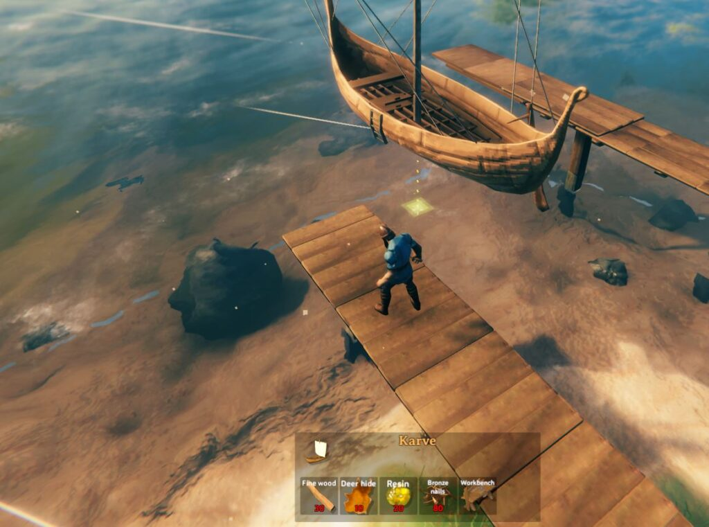 building the second boat, the Karve in Valheim with fine wood