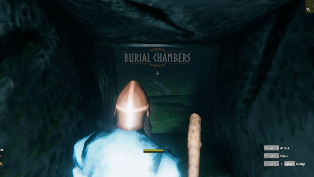 Inside the burial chambers in Valheim looking for surtling cores