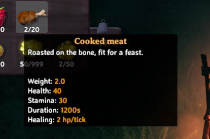 Cooked meat from the players inventory in Valheim