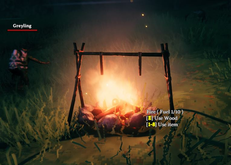 A cooking station over a campfire in Valheim