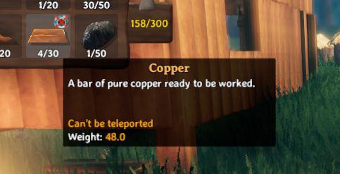 A bar of Copper in Valheim. In0game description