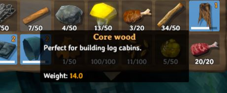 The in-game description for Core Wood in Valheim