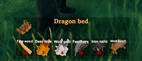 Crafting furniture such as the dragon bed in valheim with iron