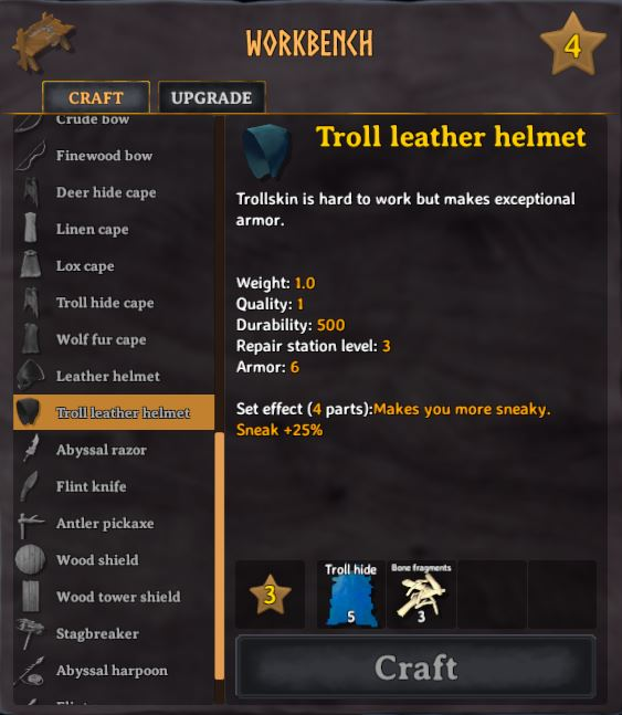 To craft a troll leather helmet you will need 3 bone fragments and 5 troll hide in valheim