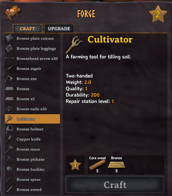 Crafting a farming tool called a Cultivator in Valheim