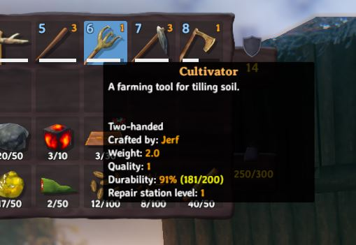 The in-game description for teh cultivator in Valheim. It reads A farming tool for tilling soil.