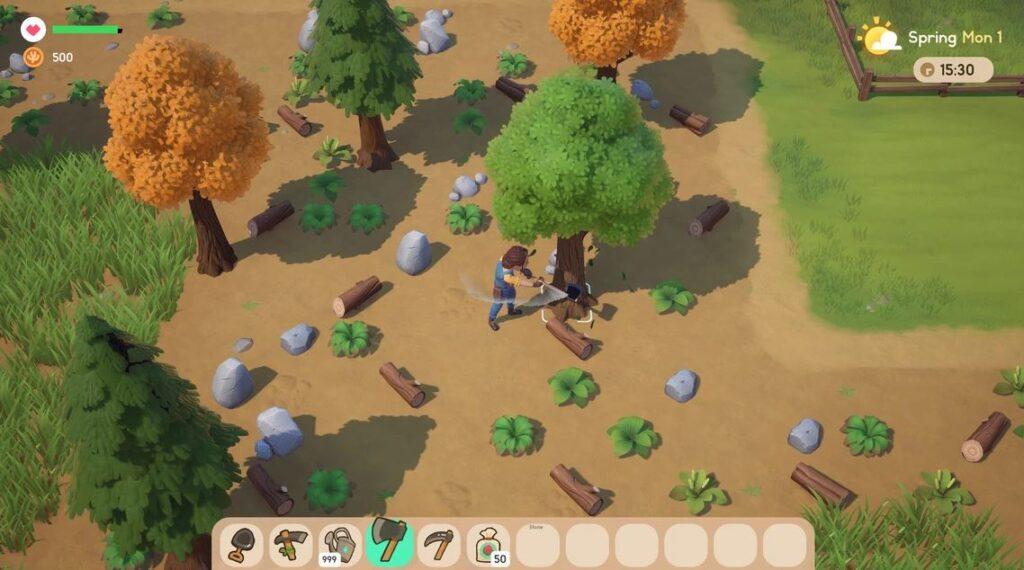 A screenshot of farming in coral island