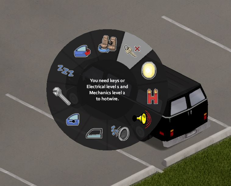 See the vehicle interaction menu to hotwire cars in project zomboid you need mechanical and electrical skill